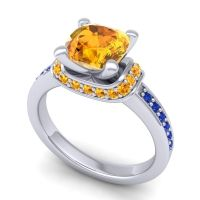 Halo Cushion Aksika Citrine Ring with Blue Sapphire in 14k White Gold