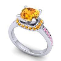 Halo Cushion Aksika Citrine Ring with Pink Tourmaline in Platinum