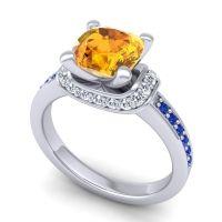 Halo Cushion Aksika Citrine Ring with Diamond and Blue Sapphire in Palladium