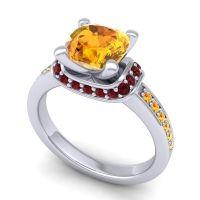 Halo Cushion Aksika Citrine Ring with Garnet in 14k White Gold