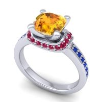 Halo Cushion Aksika Citrine Ring with Ruby and Blue Sapphire in Platinum
