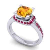 Halo Cushion Aksika Citrine Ring with Ruby in Platinum