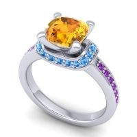 Halo Cushion Aksika Citrine Ring with Swiss Blue Topaz and Amethyst in Palladium