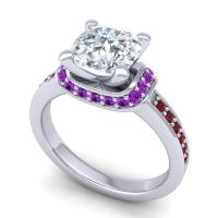 Halo Cushion Aksika Diamond Ring with Amethyst and Garnet in 18k White Gold