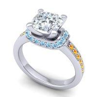Halo Cushion Aksika Diamond Ring with Aquamarine and Citrine in 14k White Gold
