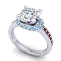 Halo Cushion Aksika Diamond Ring with Aquamarine and Garnet in 18k White Gold