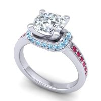 Halo Cushion Aksika Diamond Ring with Aquamarine and Ruby in 14k White Gold