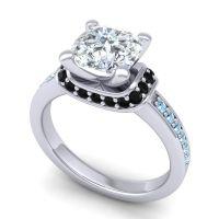 Halo Cushion Aksika Diamond Ring with Black Onyx and Aquamarine in 14k White Gold