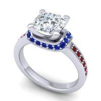 Halo Cushion Aksika Diamond Ring with Blue Sapphire and Garnet in Palladium