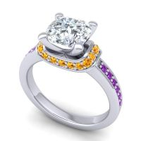 Halo Cushion Aksika Diamond Ring with Citrine and Amethyst in 14k White Gold