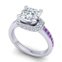 Halo Cushion Aksika Diamond Ring with Amethyst in Palladium