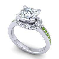 Halo Cushion Aksika Diamond Ring with Peridot in 14k White Gold