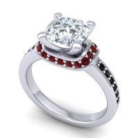 Halo Cushion Aksika Diamond Ring with Garnet and Black Onyx in 14k White Gold