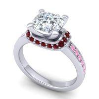 Halo Cushion Aksika Diamond Ring with Garnet and Pink Tourmaline in Palladium