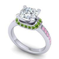 Halo Cushion Aksika Diamond Ring with Peridot and Pink Tourmaline in 18k White Gold