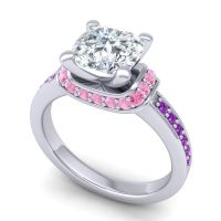 Halo Cushion Aksika Diamond Ring with Pink Tourmaline and Amethyst in 14k White Gold
