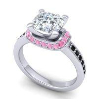 Halo Cushion Aksika Diamond Ring with Pink Tourmaline and Black Onyx in Platinum