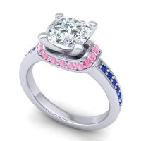 Halo Cushion Aksika Diamond Ring with Pink Tourmaline and Blue Sapphire in 18k White Gold