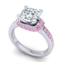 Halo Cushion Aksika Diamond Ring with Pink Tourmaline in Palladium