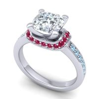 Halo Cushion Aksika Diamond Ring with Ruby and Aquamarine in 14k White Gold