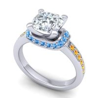 Halo Cushion Aksika Diamond Ring with Swiss Blue Topaz and Citrine in 18k White Gold