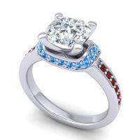 Halo Cushion Aksika Diamond Ring with Swiss Blue Topaz and Garnet in Platinum