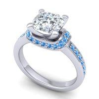 Halo Cushion Aksika Diamond Ring with Swiss Blue Topaz in Platinum