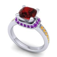 Halo Cushion Aksika Garnet Ring with Amethyst and Citrine in Platinum