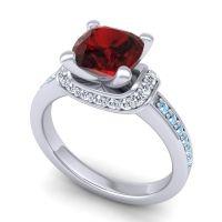 Halo Cushion Aksika Garnet Ring with Diamond and Aquamarine in Palladium