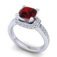 Halo Cushion Aksika Garnet Ring with Diamond in 18k White Gold