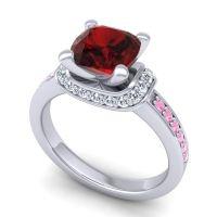Halo Cushion Aksika Garnet Ring with Diamond and Pink Tourmaline in Platinum