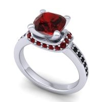 Halo Cushion Aksika Garnet Ring with Black Onyx in Platinum