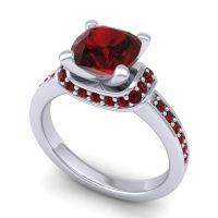 Halo Cushion Aksika Garnet Ring in 14k White Gold