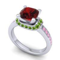 Halo Cushion Aksika Garnet Ring with Peridot and Pink Tourmaline in 18k White Gold