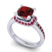 Halo Cushion Aksika Garnet Ring with Ruby in 18k White Gold