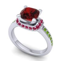 Halo Cushion Aksika Garnet Ring with Ruby and Peridot in Platinum