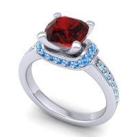 Halo Cushion Aksika Garnet Ring with Swiss Blue Topaz and Aquamarine in Platinum