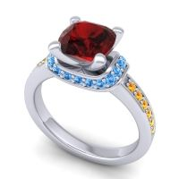 Halo Cushion Aksika Garnet Ring with Swiss Blue Topaz and Citrine in Palladium
