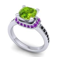 Halo Cushion Aksika Peridot Ring with Amethyst and Black Onyx in 18k White Gold