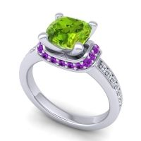Halo Cushion Aksika Peridot Ring with Amethyst and Diamond in 18k White Gold
