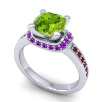 Halo Cushion Aksika Peridot Ring with Amethyst and Garnet in 18k White Gold