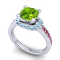 Halo Cushion Aksika Peridot Ring with Aquamarine and Ruby in 14k White Gold