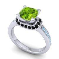 Halo Cushion Aksika Peridot Ring with Black Onyx and Aquamarine in 18k White Gold