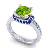 Halo Cushion Aksika Peridot Ring with Blue Sapphire and Aquamarine in 18k White Gold