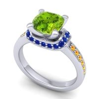 Halo Cushion Aksika Peridot Ring with Blue Sapphire and Citrine in 18k White Gold