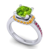 Halo Cushion Aksika Peridot Ring with Citrine and Ruby in 14k White Gold