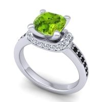 Halo Cushion Aksika Peridot Ring with Diamond and Black Onyx in 14k White Gold