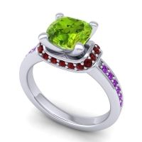 Halo Cushion Aksika Peridot Ring with Garnet and Amethyst in 18k White Gold