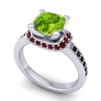 Halo Cushion Aksika Peridot Ring with Garnet and Black Onyx in Platinum