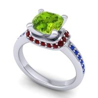 Halo Cushion Aksika Peridot Ring with Garnet and Blue Sapphire in 14k White Gold